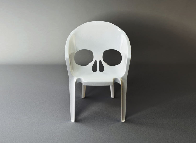 "Skull chair: ""Souviens Toi Que Tu Vas Mourir"" (Remember That You Will Die) by pool…"