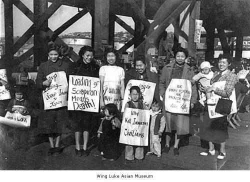 Women and children protesting scrap metal shipments to Japan, Seattle, April 1939 In 1939, Chinese Americans lobbied to stop shipments of scrap iron to Japan. Japan had invaded Manchuria, and the scrap iron would be used in war material against the Chinese people.