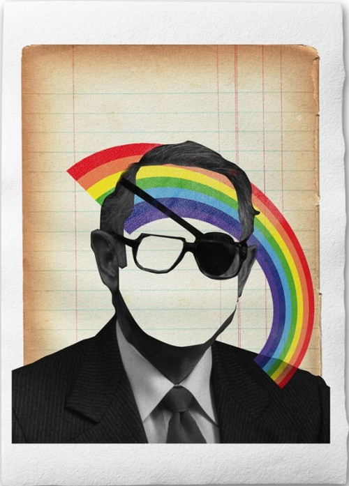Harmless Man With Rainbow   Collage Illustration by froschkind