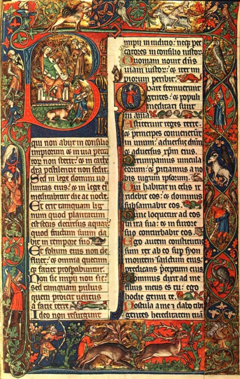art-history:  Peterborough Psalter, Opening of Psalm 1, 14th century. Bibliothéque Royal, Brussels, Belgium