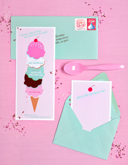 Download free ice cream party invites/thank you cards!