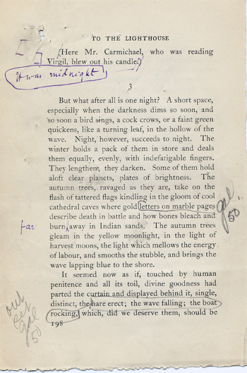 Virginia Woolf: a corrected page proof from To the Lighthouse, 1927.
