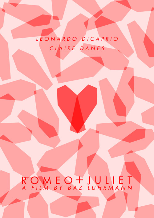 A minimal poster for Romeo + Juliet. The idea was to form a heart from two coffins but I'm not sure how effective it is, its not heart-shaped enough!