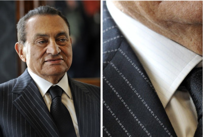 Oh hey, Mubarak. Nice pinstripes. Wait, what? Oh shit, those pinstripes are actually your name spelled over and over again. You're a douche, no doubt, but that is some serious despot swag.