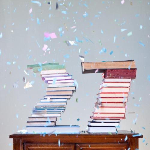 Today is my Birthday, my Dads Birthday, Ryan Schude's Birthday and Dr. Suess's Birthday!!  My favorite number today is 27 so I made a book stack!   Cheers!: )