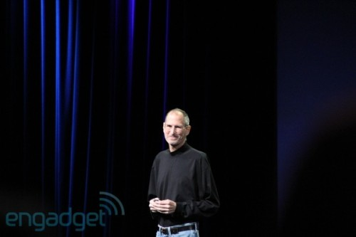 soupsoup:  Steve Jobs appears on stage at iPad 2 event. via Endgadget Live Blog  This is big because he's still on medical leave.