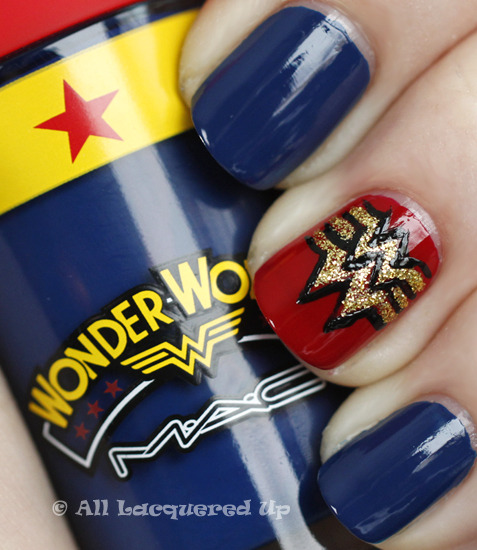 Wonder Woman nail art! Via All Lacquered Up.