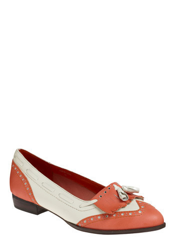 modcloth:  These darling flats by Jeffrey Campbell are coming soon to the shop! You can sign up for an email notification to be the first to know when then arrive! Peach of a Pair Flats
