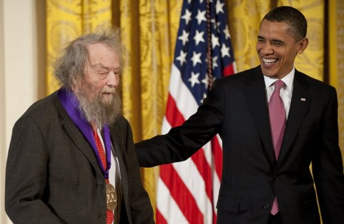 PHOTO OF THE DAY: President Obama awards the 2010 National Medal of Arts to  American poet Donald Hall during a ceremony at the White House on Wednesday. (JIM WATSON/AFP/Getty Images)