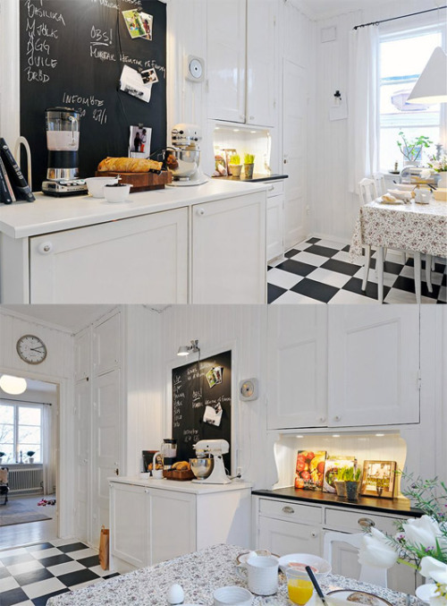 myidealhome:  kitchen with black and white floor, blackboard and old-style accessories