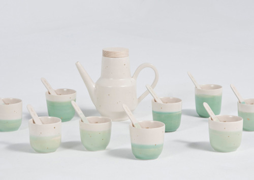 'Family Tea' by Paula Benvegnù. Tea Set that tells the story of the artist's family legacy, the family seal is found on the base and inside of each cup, each spoon tells the individual's name & birth date.