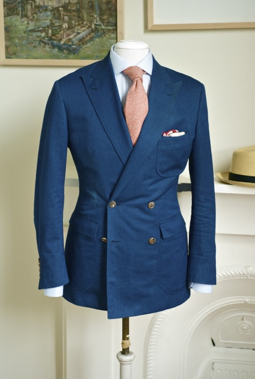 patrickjohnsontailors: Ariston Denim, Drakes Cashmere, Rubinacci Silk.