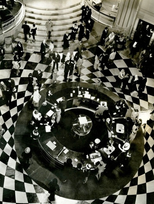 Art deco lobby set for Grand Hotel (1932, dir. Edmund Goulding) Set design by Cedric Gibbons (via)