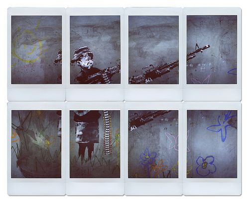 Polaroid 300 collage of Banksy piece in LA by Brad Klemmer.