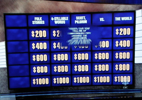 Scott Pilgrim vs the TV Game Show via @edgarwright and @mattbrossard. Scott Pilgrim vs Alex Trebek? Scott Pilgrim vs Watson?