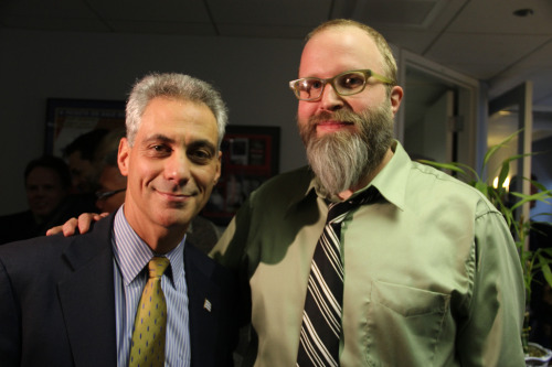 Exclusive Photo: Mayor-Elect Rahm Emanuel and Dan Sinker, Author of the @MayorEmanuel Twitter Account, Arm in Arm in WLS Studios in Chicago If Rahm was balder, taller and had a beard, it would be a perfect match.