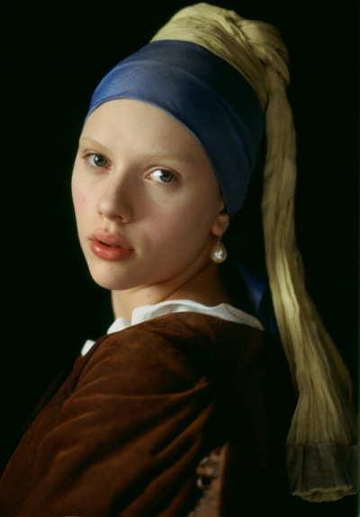 bohemea:  Scarlett Johansson as Girl With a Pearl Earring by Johannes Vermeer (1665) - Promo for Girl With a Pearl Earring, 2003