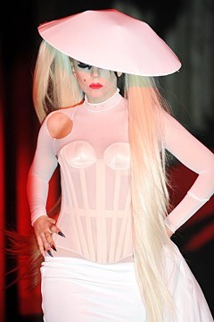 Lady Gaga Struts Down Mugler Catwalk  Despite how you might feel about Lady Gaga's style or music, after seeing her walk down the Mugler runway like a pro, it'd be hard to doubt her mastery of sky-high heels.Courtesy of a live stream on the Mugler Facebook page, hundreds of thousands of fans across the globe had access to Nicola Formichetti's debut womenswear collection for the Parisian design house, which had its heyday in the '80s and '90s. Full story on StyleList here.  [Gaga walks during the Spring 2011 Mugler show. Photo: Francois Durand, Getty Images]
