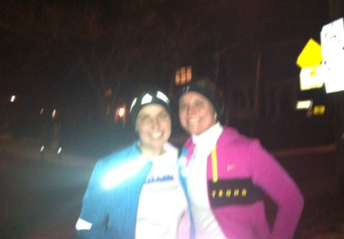 Last night I ventured to hill training with the beautiful and lovely Miss-(Soon-To-Be-Mrs.) Melissa, she was visiting Toronto for work (oh. em. gee! Internet Friendz) and as she's training for the NYC 1/2, she insanely(?) chose to join me and my running group on hill training. The hills were the easiest part. Last night's run marks the coldest I have ever been in my entire life. Ever. Anywhere. Ever.  I lost the feeling in all ten of my fingers, my lips froze, and somehow the cold even managed to seep through my extra hibernation padding on my bum, as one cheek (of the rear variety) fully went numb (<- didn't know that was possible).  However, I was really pleased with myself as I didn't walk(!!) on any of the 4 hills, this was huge for me! As last summer? Yea… last summer I had to walk at least once on all the hills. In the interest of full disclosure, post cold-run-from-hell we each dined on a burger and fries. It was delicious, and salty, and meaty, and cheesy, and then combined with excellent company? Excellent end to a chilly night. —- Sorry about the crappy photo. The girl who took it told me it was blurry, to which I responded through numb lips, 'Too cold. Don't care. Need, warmth, now.'