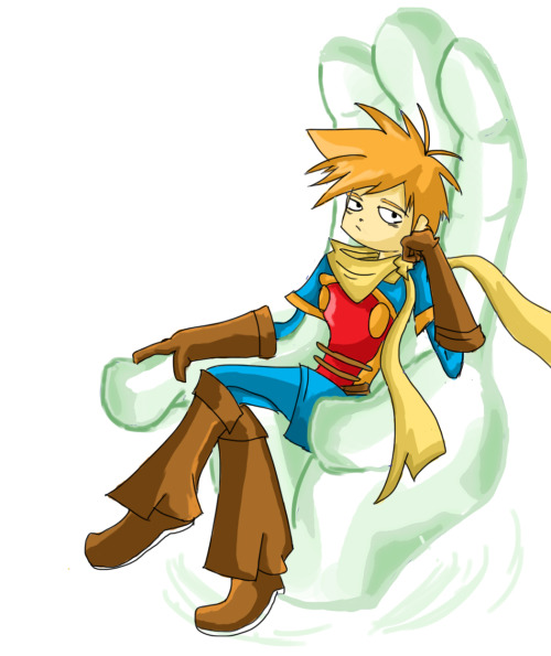 Just a quick Photoshop sketch.  Isaac from Golden Sun sitting on a throne formed from one of his big Psynergy hands