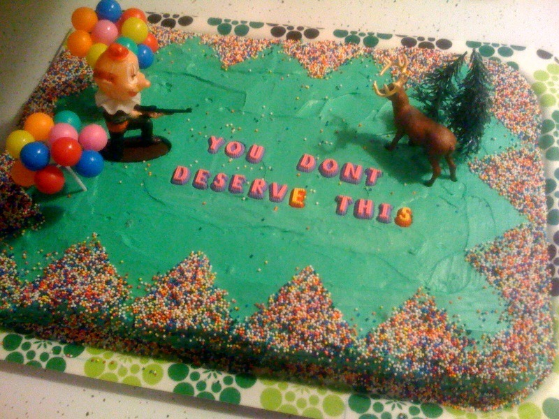 Do you may remember the hate-cake photo that my friend Katie sent me on my birthday? Well this is the cake she received for her birthday last night.That's what I like to call street justice. Or just normal justice.