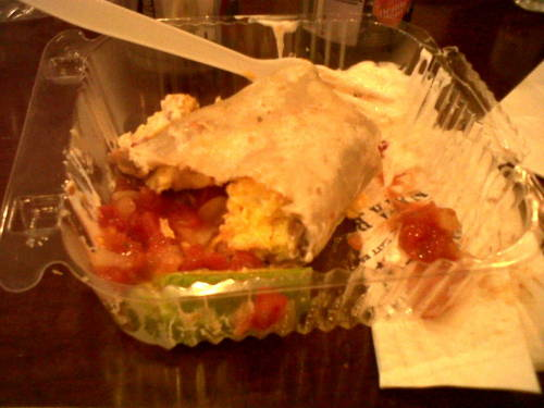 2nd breakfast- breakfast burrito. Beans, egg and cheese with avacado and salsa. I won't eat the tortilla, just the fillling. Breakfast #1 was not very satisfying…
