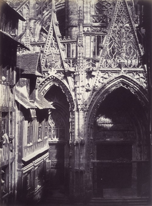 aubade:  Edmond Bacot, Saint-Maclou, Rouen, detail of Lower Portal, West Front. 1852 - 54. Salted paper print from glass negative.