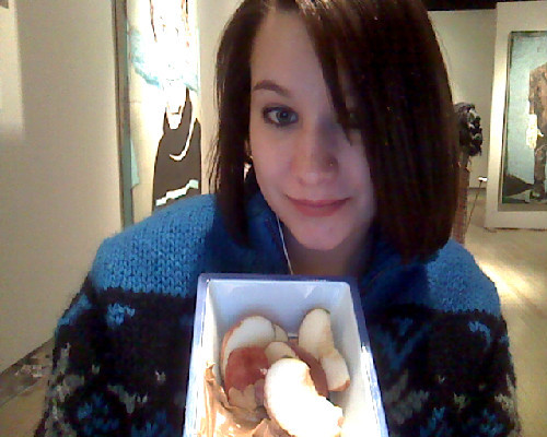 At work munching on some apples and organic peanut butter in my Misha sweater of course. :)