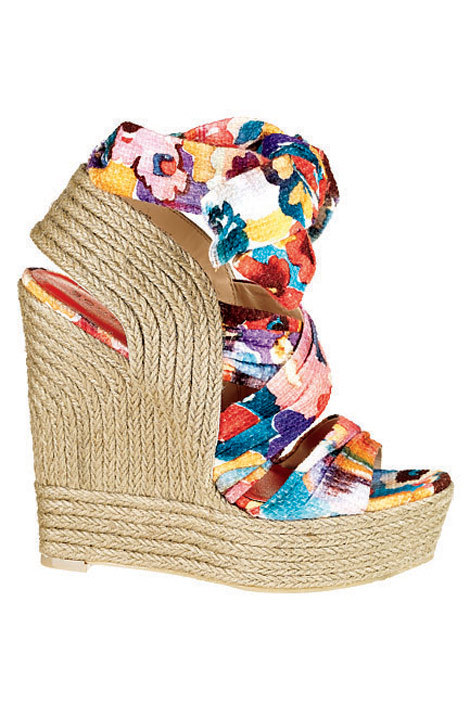 elle:  Boutique 9 rope and fabric wedge, collection at select Bloomingdale's stores nationwide Go motley-chic by mixing floral motifs and layering on prints. ELLE Shops: Mixed PrintsSpring's refreshingly playful striped jackets, garden maxi dresses, and more