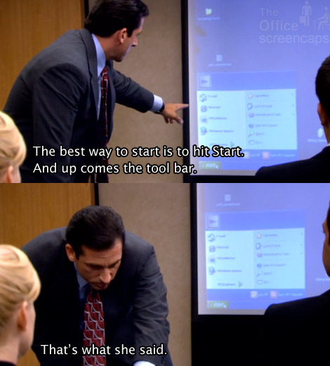 The Office - And up comes the tool bar. - S4E4 Captured Captions