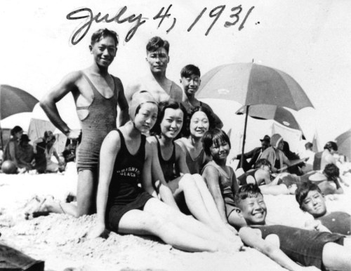 Friends at Venice Beach on Fourth of July, 1931. (Photo courtesy of LAPL.) In the 1930's, approximately 650 Koreans in Los Angeles County formed a community in the area between Adams and Slausen Boulevards and between Western and Vermont Avenues, now called South Central Los Angeles. Despite their small numbers, Koreans were targets of anti-Asian violence as well as anti-Asian legislation. Korean farm workers were attacked in Hemet Valley, California, in 1913, by an angry mob of white workers who mistook them for Japanese. The same year, California passed the Alien Land Act, which prohibited immigrants ineligible for citizenship - that is, Asians - from buying property.