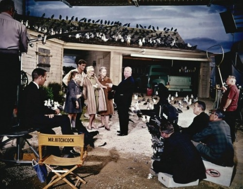 greggorysshocktheater:  Alfred Hitchcock with cast and crew on the set of The Birds (1963)