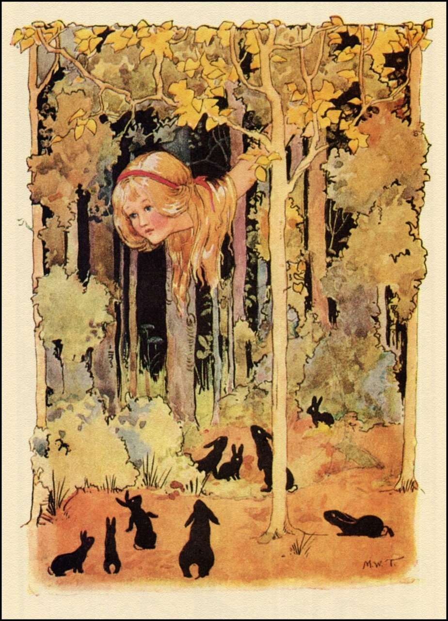 Margaret Tarrant ~ Alice Stretched ~ from Alice's Adventures in Wonderland ~ 1916 ~ via The Pictorial Arts