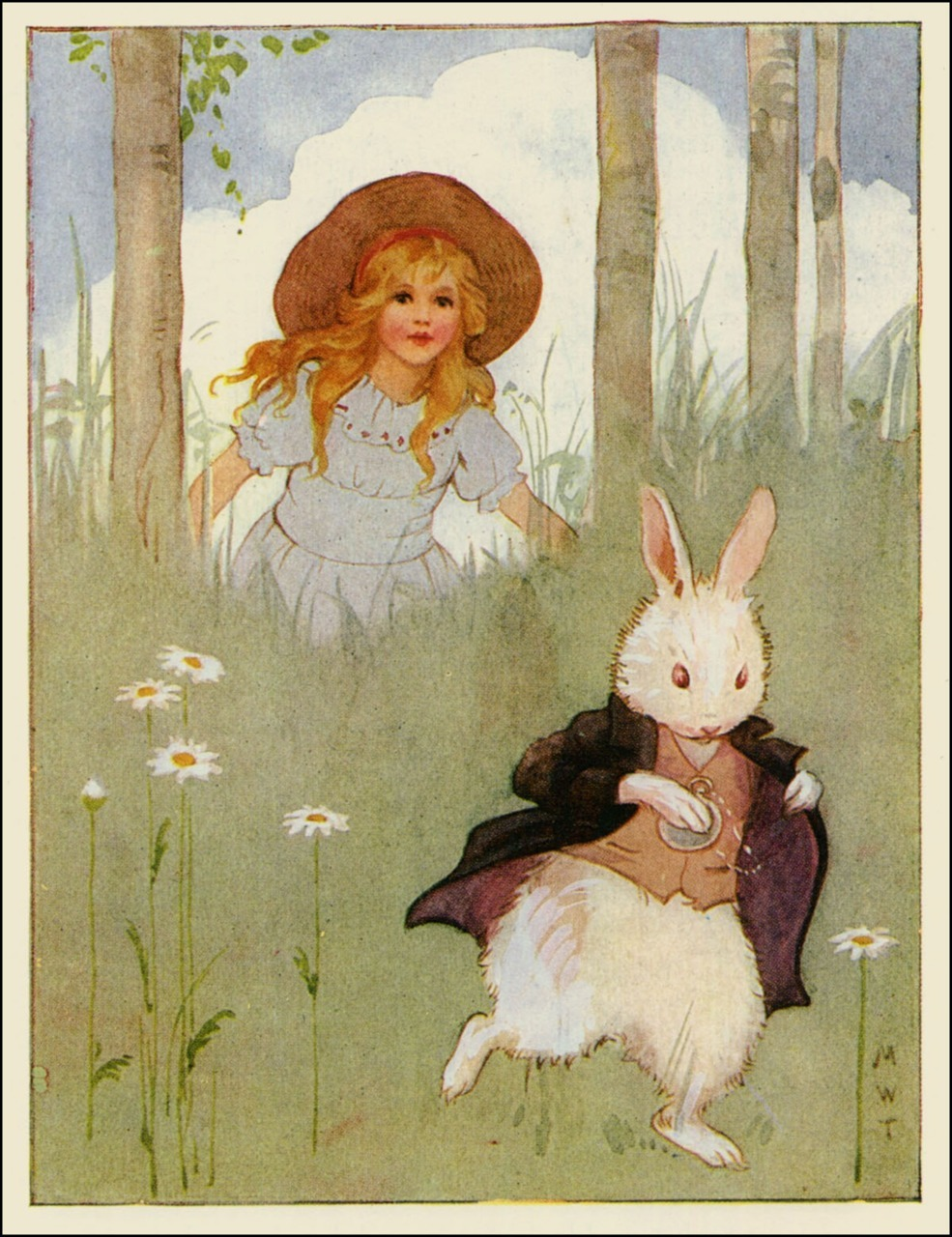 Margaret Tarrant ~ Alice Follows the White Rabbit ~ from Alices's Adventures in Wonderland ~ 1916 ~ via The Pictorial Arts