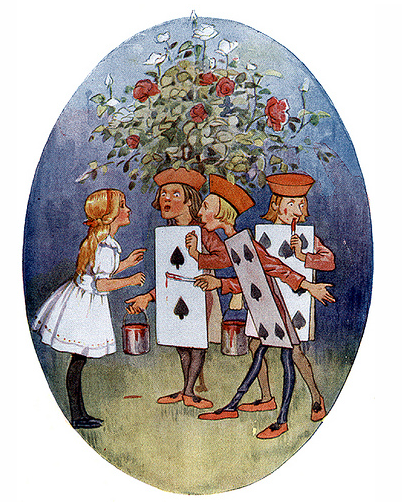 Margaret Tarrant ~ Painting the Roses Red ~ from Alice's Adventures in Wonderland ~ 1916 ~ via