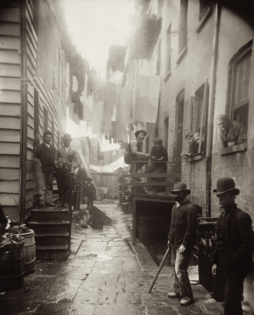 "thefindesiecle:   Bandit's Roost (1888), by Jacob Riis, from ""How the Other Half Lives."" Bandit's Roost, at 59½ Mulberry Street (Mulberry Bend), was the most crime-ridden, dangerous part of all New York City.  [via thedreambeforetheringthatwokeme]"