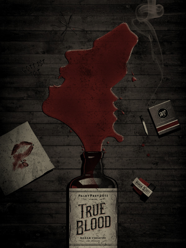 True Blood By DKNG Studio. Again, this forms part of the Paleyfest 2011 lineup of posters. Others yet to debut include Parks & Recreation, Glee, Eastbound and Down and Freaks and Geeks, Community and Supernatural. Can't wait. Galleries One Nine Eight Eight: PALEYFEST 2011 POSTERS