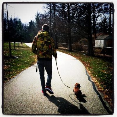 Walking in pairs with a dog that has four legs…