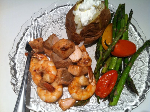 Dinner by Emily: Coho and Gulf Shrimp, asparagus, baked potato.