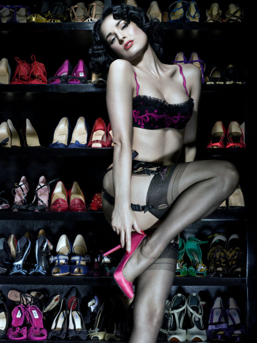 suicideblonde:  Dita von Teese in her shoe closet