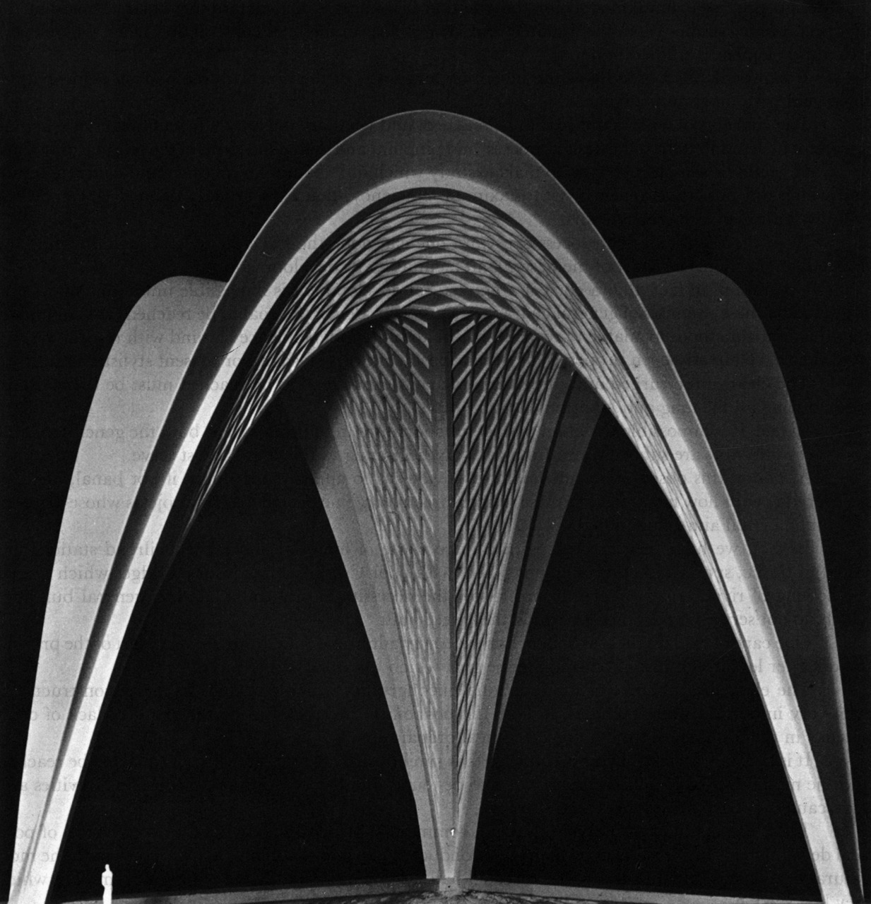 archiveofaffinities:  Pier Luiji Nervi, Roof Structure: Three Parabolic Vaults, 100' High, Spanning 115', 1959-61