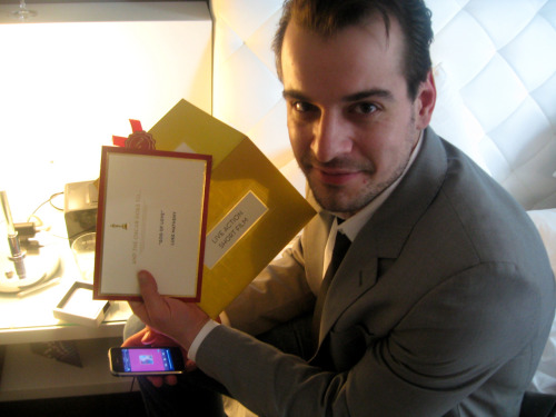 Chris Hirsh and the Oscar envelope.