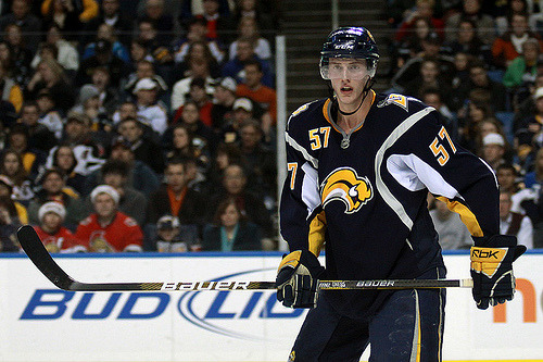 NHL 30 DAY CHALLENGE - DAY 4 BUFFALO SABRES #57 - TYLER MYERS In all honesty, I know nothing about this team (part of the reason they were on my must seem them play at Nationwide list) so this pick is based SOLELY on the fact that this guy is a SIX FOOT EIGHT INCH TALL D-MAN! I mean, whoa, I didn't even know you could MAKE humans that big (outside the NBA)! And yes, I'm a little partial to D-men. ;-)