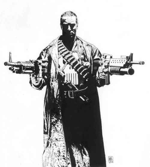 Pen and Ink Punisher by Tim Bradstreet. Used as cover for French Magazine Box.