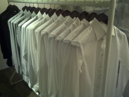 White shirts for AW11 at Mr Start presentation, Meswear Day, London Fashion Week