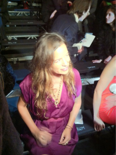 Jade Jagger in a grape-hued Lanvin dress #PFW