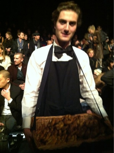 Love the retro trays of food at Lanvin #PFW