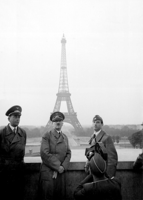 Hitler at the Eiffel Tower, Paris, France