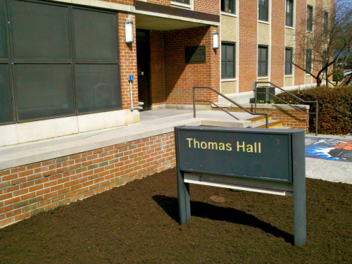 "campaignforvt:  Not exactly a pretty picture, but then again, Thomas Hall on Virginia Tech's Upper Quad isn't much to look at either. And I would know - I lived there for the first three semesters of my college career, including the great ice storm of 1994 when we lost power and water for days. I remember Shultz Dining Hall serving PBJ and bags of chips because they couldn't cook anything. Ah, those were the days. And now for a little game called ""did you know…"" Thomas Hall was built in 1949 and renovated in 1970 and 2004. It is located in the Upper Quad of campus. Thomas Hall is home to 355 residents and features newly tiled bathrooms and large lounges. Thomas Hall is close to Shultz Dining Center and Squires Student Center. Thomas Hall is named for Sgt. Herbert J. Thomas. Born in 1918, he studied business administration at Virginia Agricultural and Mechanical College and Polytechnic Institute (now called Virginia Tech). Thomas, a member of Virginia Tech's Athletic Hall of Fame, was a legendary football player. During his senior year he was the second highest scorer in the Southern Conference and received All-American honors. He never graduated with the class of 1941 because he went to war two months before commencement. A member of the U.S. Marine Corps, Thomas was awarded the Medal of Honor for heroism during World War II for action against enemy Japanese forces during the battle at the Koromokina River, Bougainville Island, Solomon Islands, on Nov. 7, 1943. Although several of his men were struck by enemy bullets as he led his squad through dense jungle undergrowth in the face of severe hostile machine gun fire, he was successful in destroying two enemy machine gun positions. Halted by a third enemy machine gun, he positioned his men to rush the enemy after he threw a hand grenade. But when he threw the grenade, it reflected off the jungle vines and dropped back among his men. Thomas deliberately flung himself upon the grenade to smother the explosion, valiantly sacrificing his life for his comrades. Inspired by his selfless action, his men unhesitatingly charged the enemy machine gun, and with fierce determination, killed the crew and several other nearby defenders. [Source: http://www.housing.vt.edu/halls/thomas.php]  It must be dorm days on Tumblr! What dorm did you call home while at Tech?"