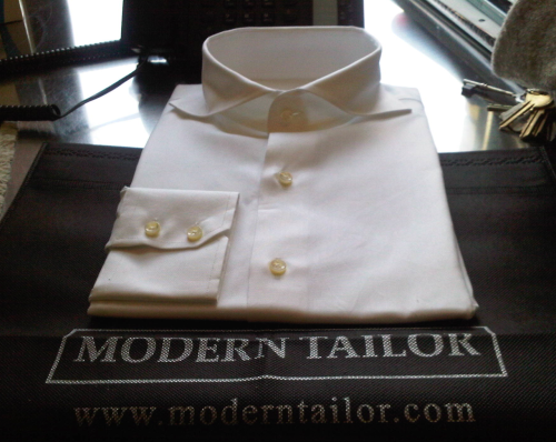 "tredicielupo:  MTM cutaway collar oxfords for 19.95 plus shipping.  I got two and if I'd been smart I would have ordered 15 'cause its a one time deal.  I went with their ""wide spread"" but asked to do 10cm collar points instead of 8. Fit is perfect and it came in a week.  Can't beat it with a stick.  If you dig the look grab one here.  They're not offering white oxfords anymore, but they are offering blue oxfords. Hmm…"